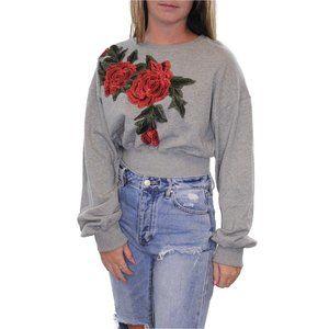 ETIQUETTE Rose Aplique Crop Sweatshirt #II04